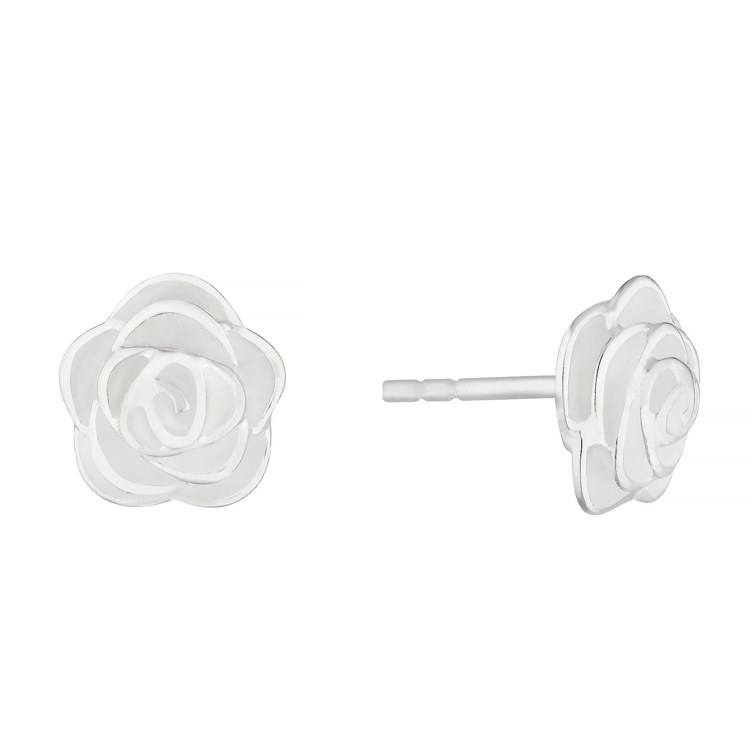 Silver & White Enamel Rose Stud Earrings - Product number 4842502