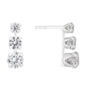 Silver Cubic Zirconia Stud Earrings Three-Pair Gift Set - Product number 4842529