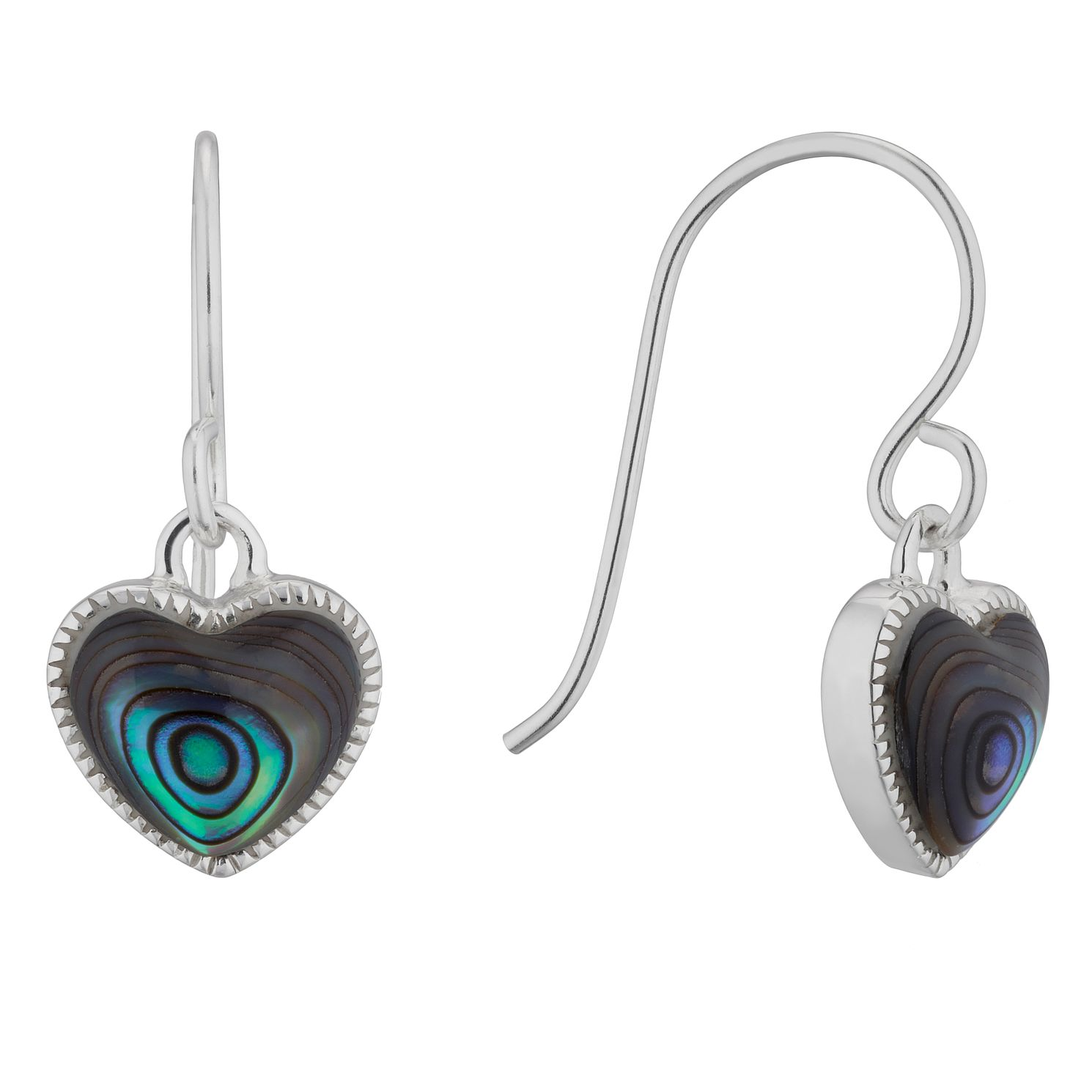 Silver Abalone Heart Drop Earrings - Product number 4842561