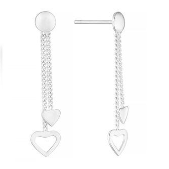 Silver Double Hanging Hearts Drop Earrings - Product number 4842588