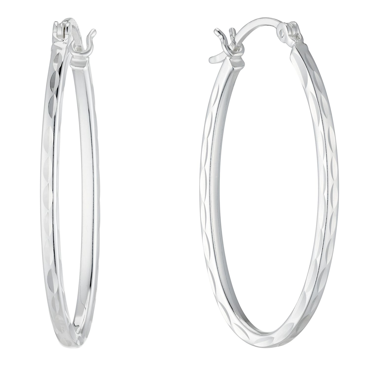 Sterling Silver Diamond Cut Oval Hoop Earrings - Product number 4842618