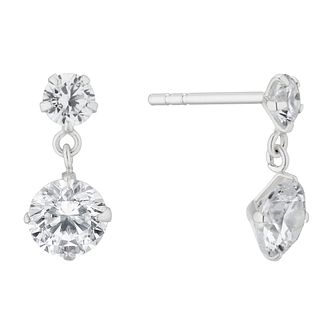 Silver Cubic Zirconia Round Drop Earrings - Product number 4842634