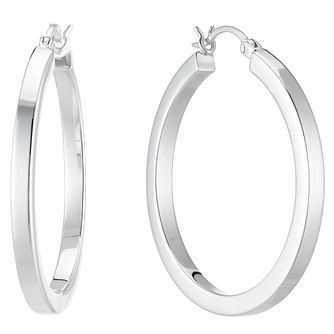 Rhodium Plated Square Edge 31mm Creole Hoop Earrings - Product number 4842642