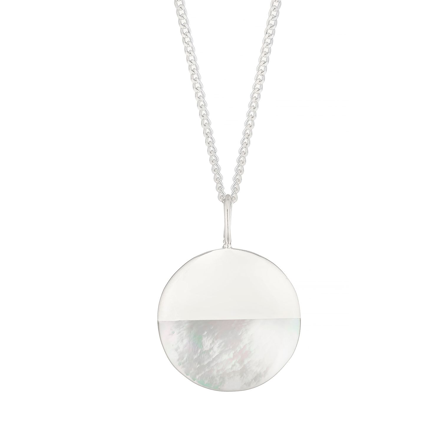 Silver Half Mother Of Pearl Disc Pendant - Product number 4842723