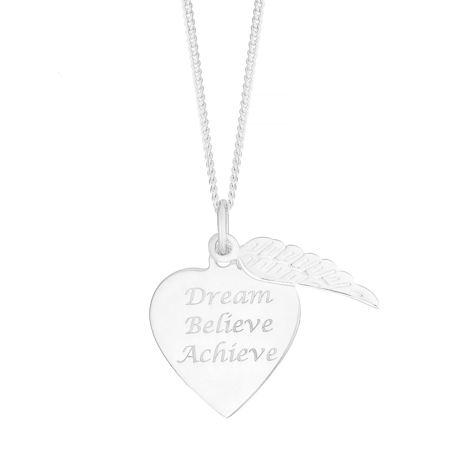 Silver inchesDream Believe Achieve inches Pendant - Product number 4842839