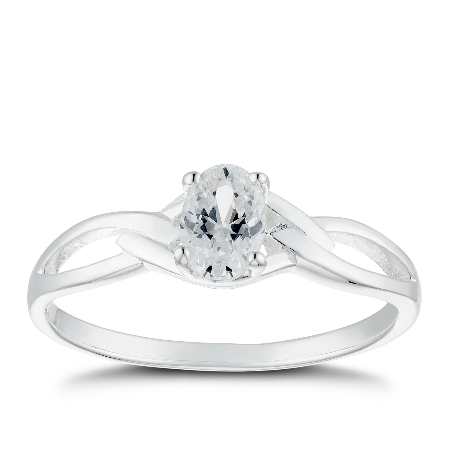 Silver Cubic Zirconia Solitaire Wave Ring - Size P - Product number 4843002