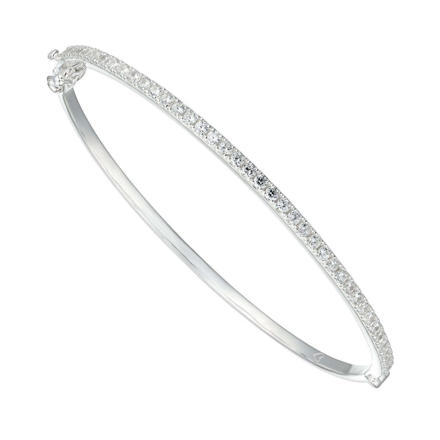 Silver Cubic Zirconia Hinged Bangle Bracelet - Product number 4843231
