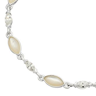 Silver Mother Of Pearl & Cubic Zirconia Marquise Bracelet - Product number 4843258