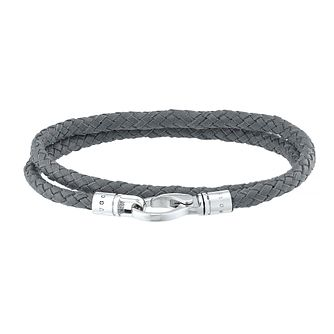 Hugo Boss Men's Grey Leather Weave Bracelet - Product number 4843428