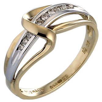9ct Two Colour Gold Diamond Ring - Product number 4844203