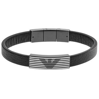 Emporio Armani Men's Ion Plated Leather Bracelet - Product number 4848314
