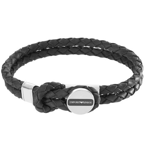 Emporio Armani Men's Stainless Steel Black Leather Bracelet - Product number 4848365