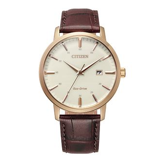Citizen Men's Dark Brown Leather Bracelet Watch - Product number 4851331