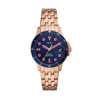Fossil Ladies' Blue Dial Rose Stainless Steel Bracelet Watch - Product number 4851579