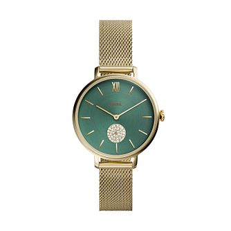 Fossil Ladies' Kalya Green Dial Gold Tone Bracelet Watch - Product number 4851765