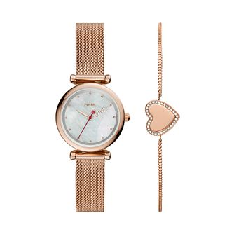 Fossil Ladies' Carlie Mini Love Watch & Bracelet Gift Set - Product number 4851773