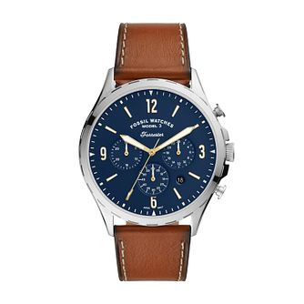 Fossil Men's Forrester Blue Dial Brown Leather Strap Watch - Product number 4851900