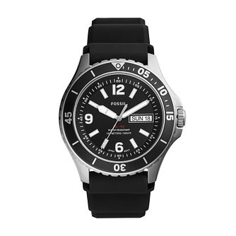 Fossil Men's FB-02 Black Silicone Strap Watch - Product number 4851935