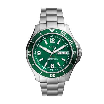 Fossil Men's FB-02 Green Dial Stainless Steel Bracelet Watch - Product number 4851943