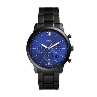 Fossil Men's Neutra Blue Dial Black Bracelet Watch - Product number 4852028
