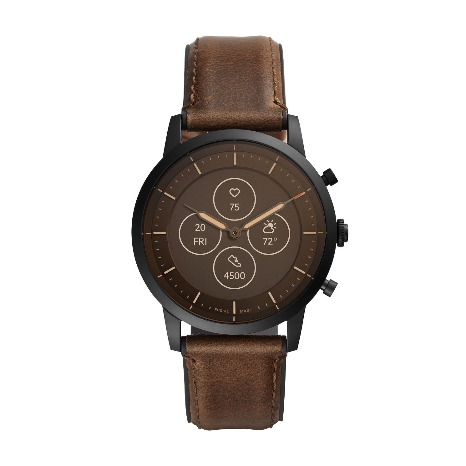Fossil Men's Brown Leather Strap Hybrid Smartwatch - Product number 4852109