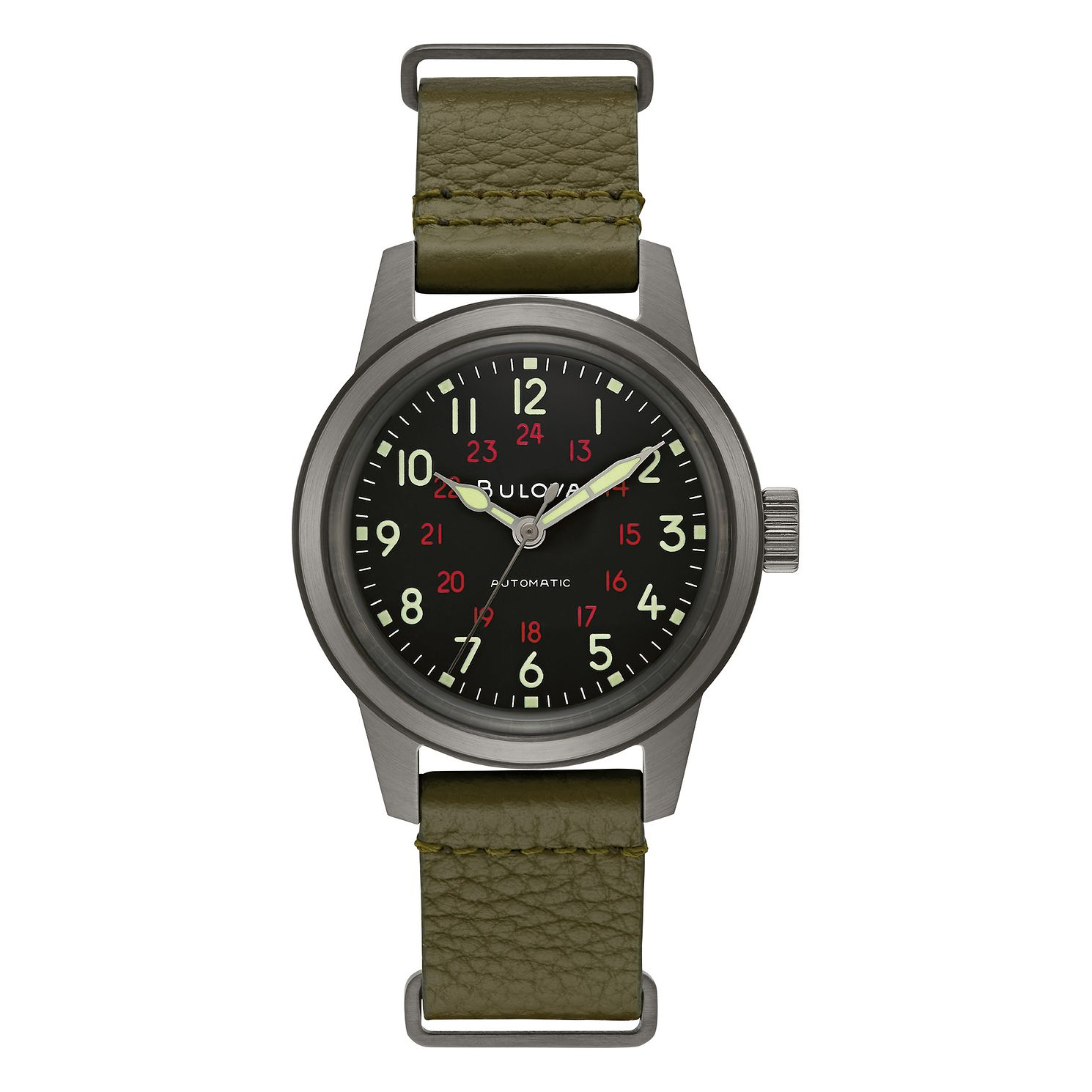 Bulova Military Hack Men's Green Leather Strap Watch - Product number 4852389