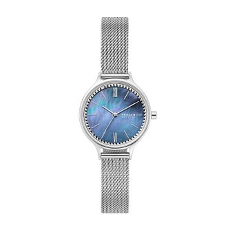 Skagen Ladies' Blue Mother of Pearl Dial Mesh Bracelet Watch - Product number 4852419