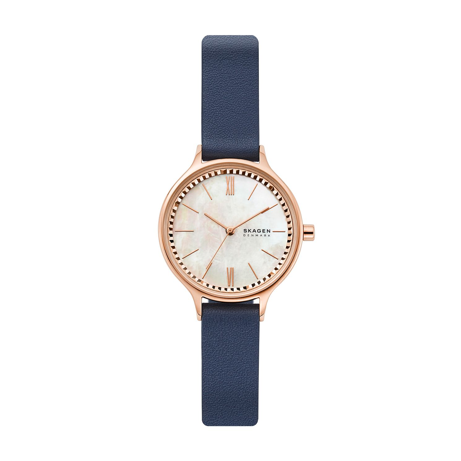 Skagen Ladies' Mother of Pearl Dial Blue Leather Strap Watch - Product number 4852427