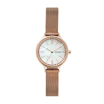 Skagen Anita Ladies' Rose Gold Tone Mesh Bracelet Watch - Product number 4852435