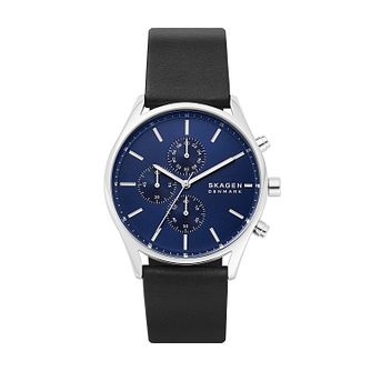 Skagen Men's Black Leather Strap Watch - Product number 4852508