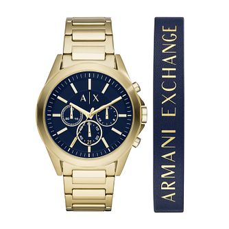 Armani Exchange Men's Gold Tone Watch Gift Set - Product number 4852818