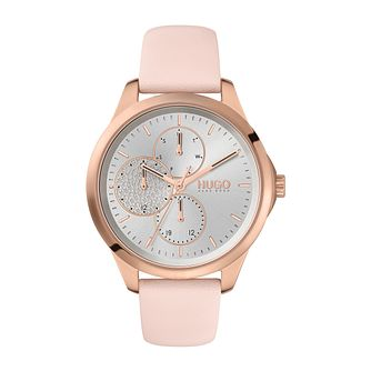 HUGO #FEARLESS Ladies' Pink Leather Strap Watch - Product number 4852842