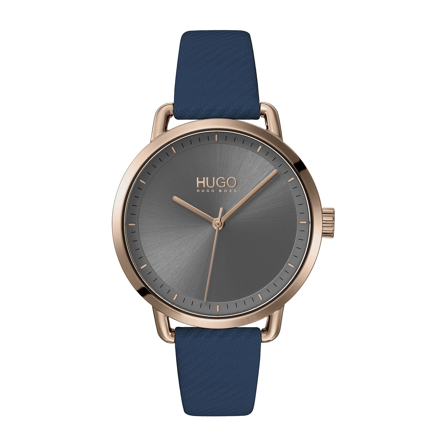 HUGO #MELLOW Blue Leather Strap Watch - Product number 4852877