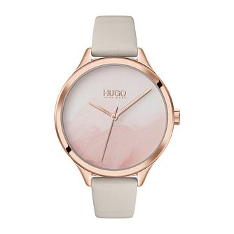 HUGO #SMASH Ladies' Beige Leather Strap Watch - Product number 4852907