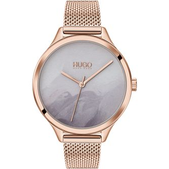 HUGO #SMASH Ladies' Rose Gold Tone Mesh Bracelet Watch - Product number 4852931
