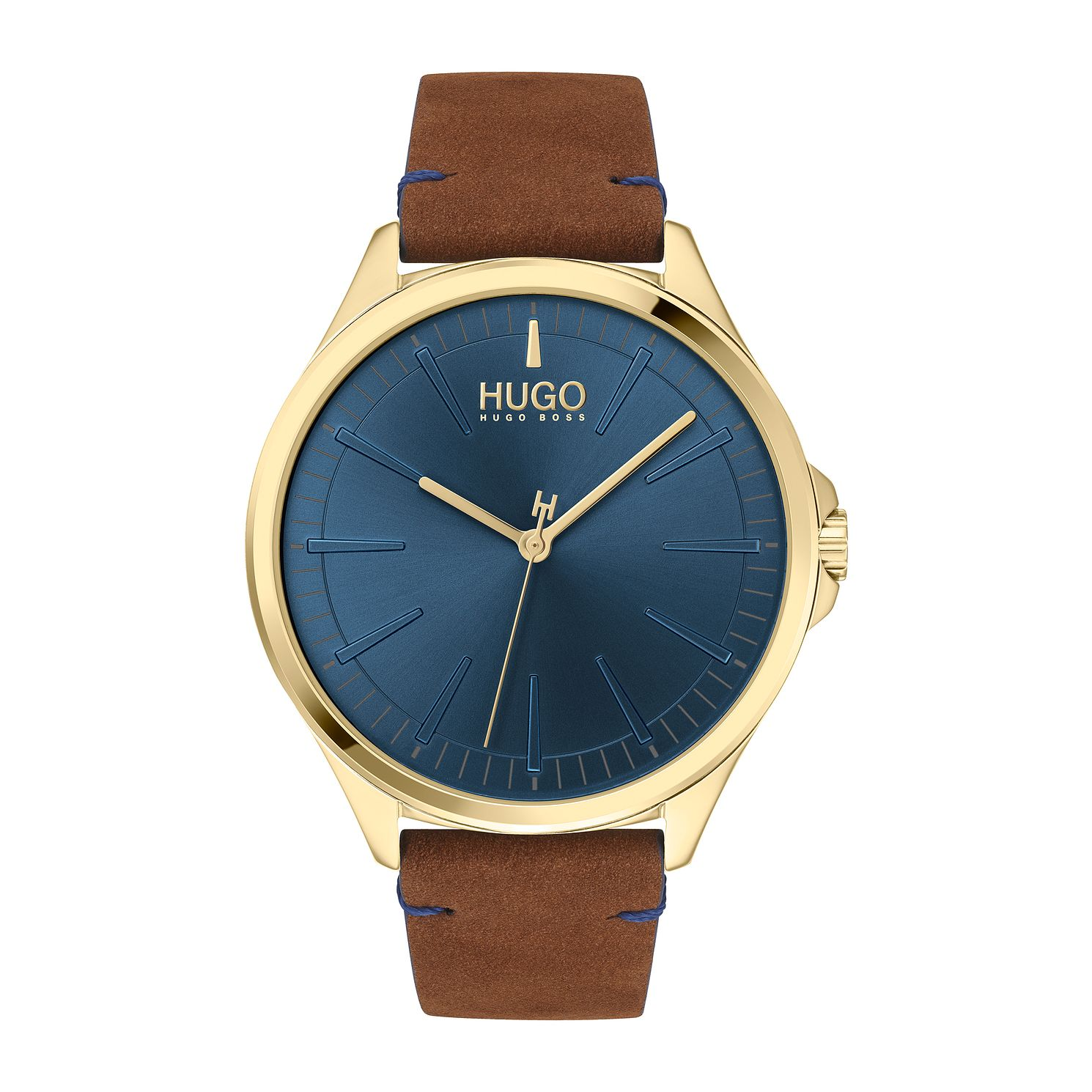 HUGO #SMASH Brown Leather Strap Watch - Product number 4852982