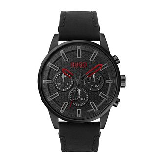 HUGO SEEK Men's Black Leather Strap Watch - Product number 4853091