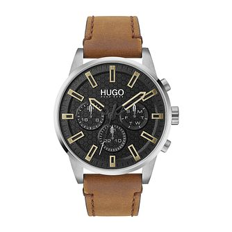 HUGO #SEEK Men's Brown Leather Strap Watch - Product number 4853105