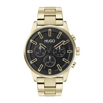 HUGO SEEK Men's Gold IP Bracelet Watch - Product number 4853113