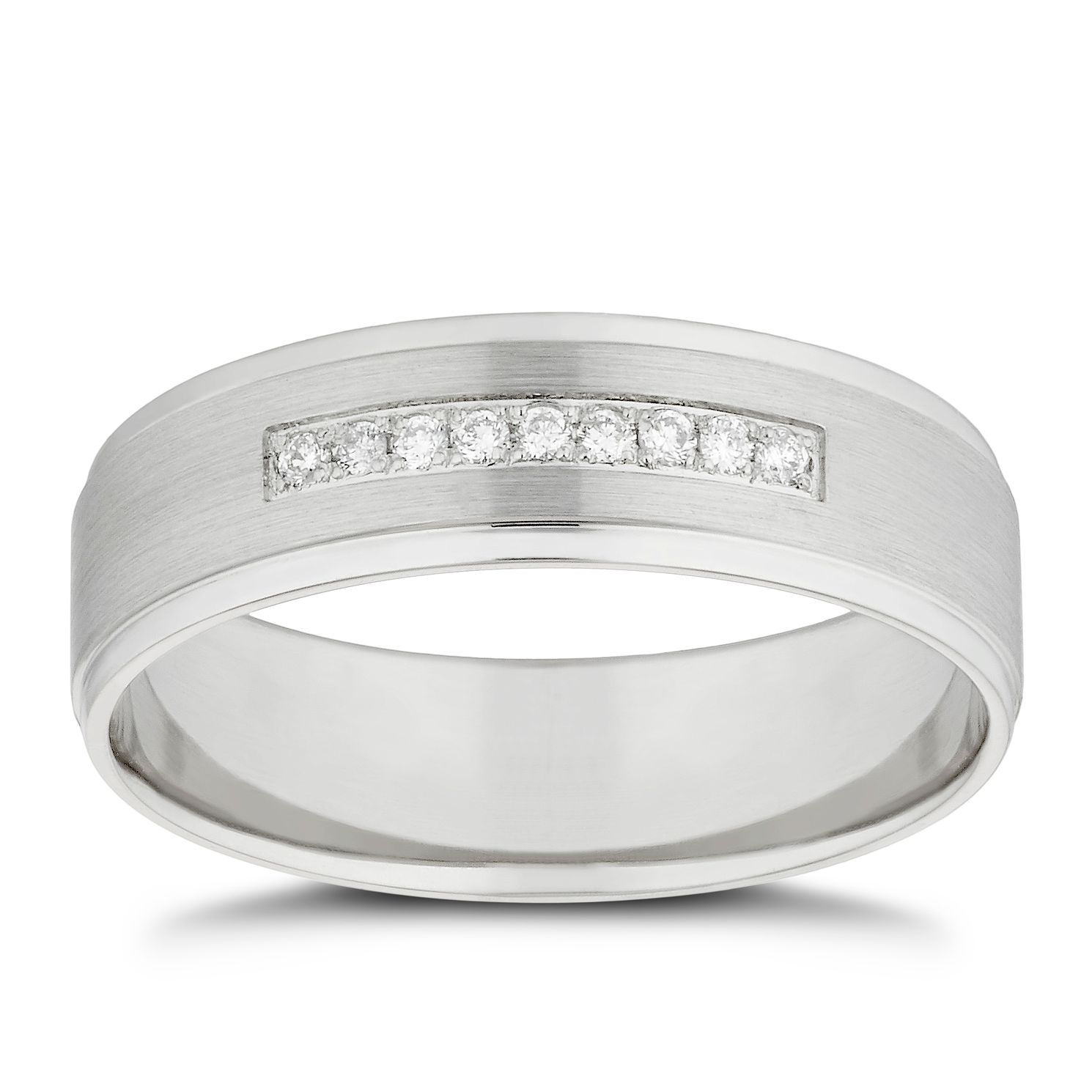 Platinum Diamond Matte & Polished 6mm Wedding Ring - Product number 4853350