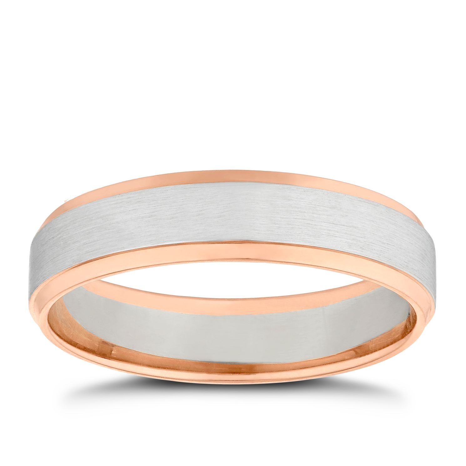 18ct Two Colour Gold Bevelled Edge Wedding Ring - Product number 4854047