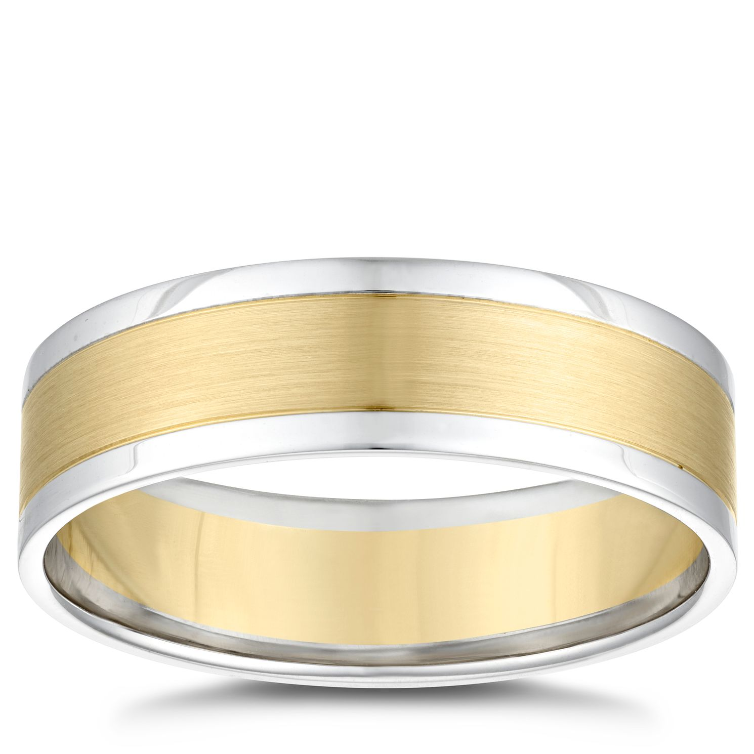 18ct Two Colour Gold Centre Row 6mm Wedding Ring - Product number 4854705