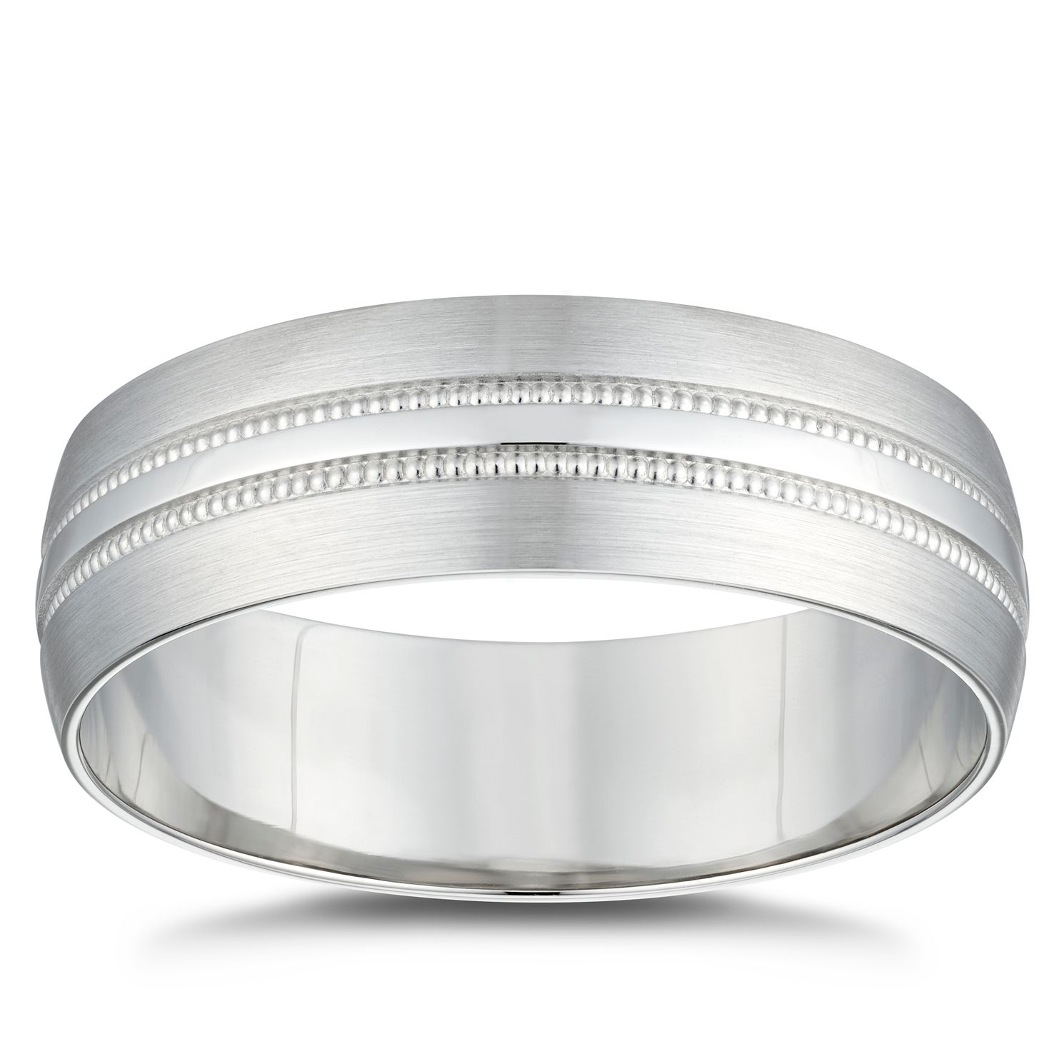 Platinum Matte & Polished Milgrain 6mm Wedding Ring - Product number 4854853
