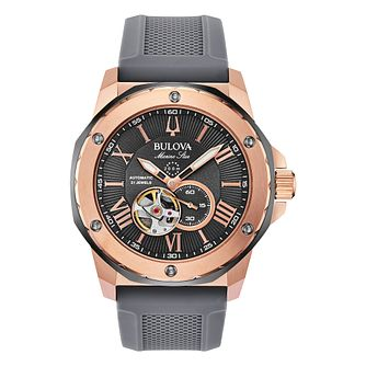 Bulova Marine Star Men's Grey Silicone Strap Watch - Product number 4857682