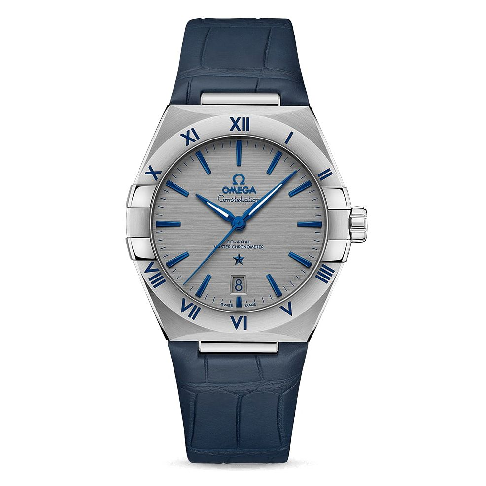Omega Constellation Men's Blue Leather Strap Watch - Product number 4857755