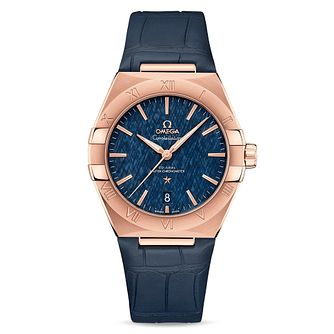 Omega Constellation Men's Blue Leather Strap Watch - Product number 4857801