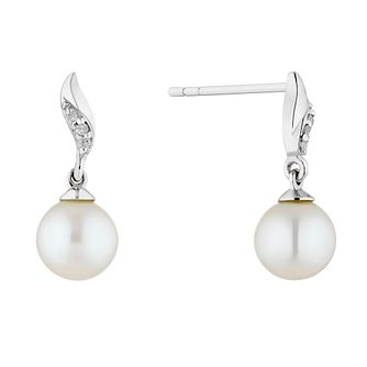 9ct White Gold Freshwater Pearl & Diamond Twist Earrings - Product number 4859030