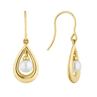 9ct Yellow Gold Freshwater Pearl Pear Drop Earrings - Product number 4859049