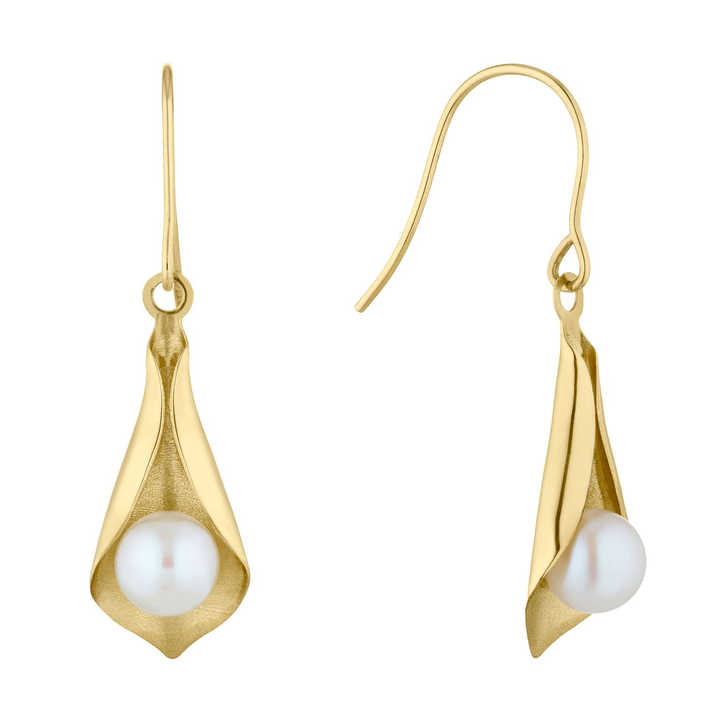 9ct Yellow Gold Freshwater Pearl Wrap Drop Earrings - Product number 4859057