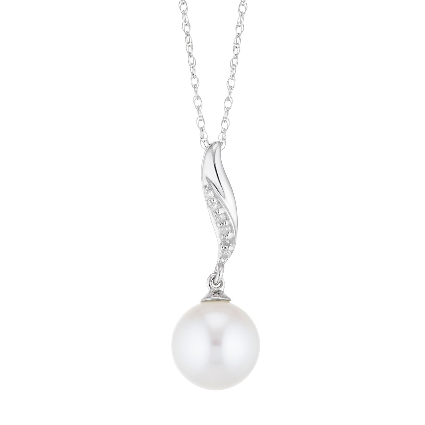 9ct White Gold Freshwater Pearl & Diamond Twist Pendant - Product number 4859065